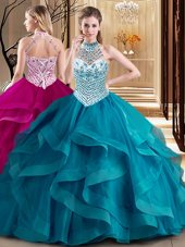 Halter Top Sleeveless Tulle With Brush Train Lace Up 15 Quinceanera Dress in Teal for with Beading and Ruffles