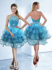 Baby Blue Halter Top Neckline Beading and Ruffled Layers Pageant Dress for Womens Sleeveless Zipper