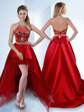 Red Zipper Halter Top Beading Cocktail Dresses Satin Sleeveless