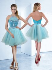 Gorgeous Halter Top Sleeveless Knee Length Beading Zipper Cocktail Dresses with Light Blue