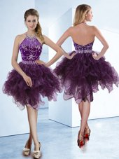 Modest Dark Purple Halter Top Zipper Beading Pageant Dress for Womens Sleeveless