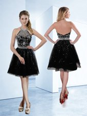 Sophisticated Halter Top Black A-line Beading Cocktail Dresses Zipper Tulle Sleeveless Knee Length