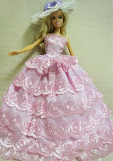 Baby pink wedding dress for barbie doll lace layered for Baby pink wedding dress