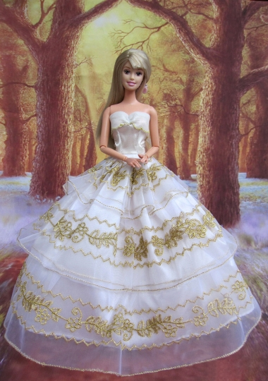 White And Gold Lace Layered Wedding Dress For Barbie Doll
