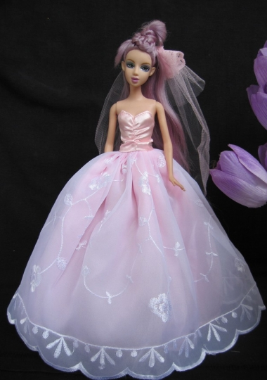 Ball Gown Barbie Doll Wedding Dress Light Pink Embroidery
