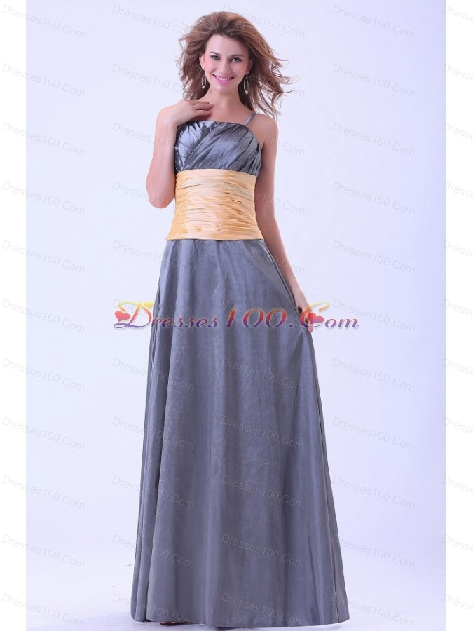 Yellow waistband dark grey bridesmaid dresses spaghetti for Dark grey wedding dresses