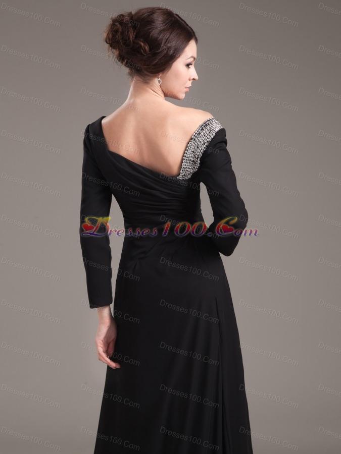 Slit Off Shoulder Brush Long Sleeves Mother Bride Dress