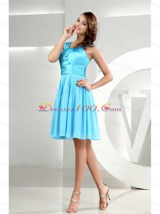 Straps A-Line Knee-length Baby Blue Bridesmaid Dresses ...