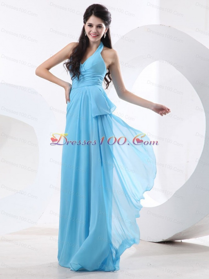 halter baby blue bridesmaid dresses empire ruch us12898
