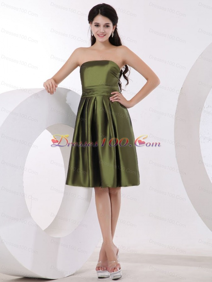 Strapless Olive Green Bridesmaid Dress Knee-length - US$86.99