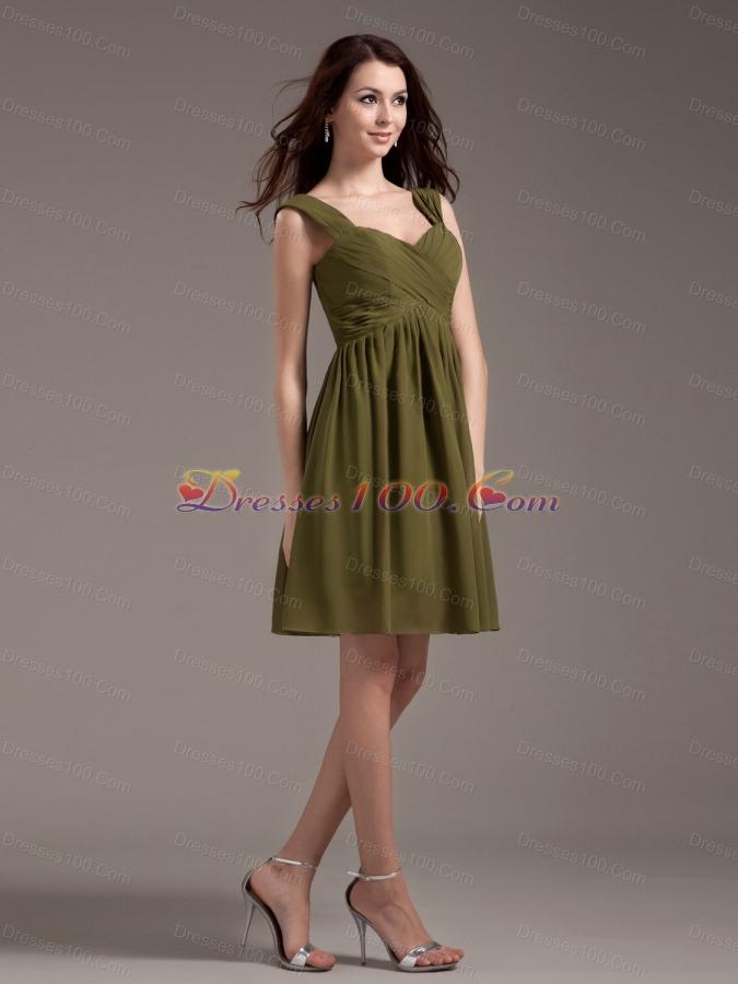 Olive Green Bridesmaid Dresses Straps Knee Length Us 87 58