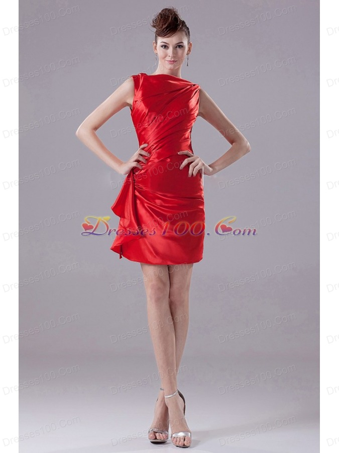Mini length bateau red prom cocktail dress with taffeta for Cocktail 102