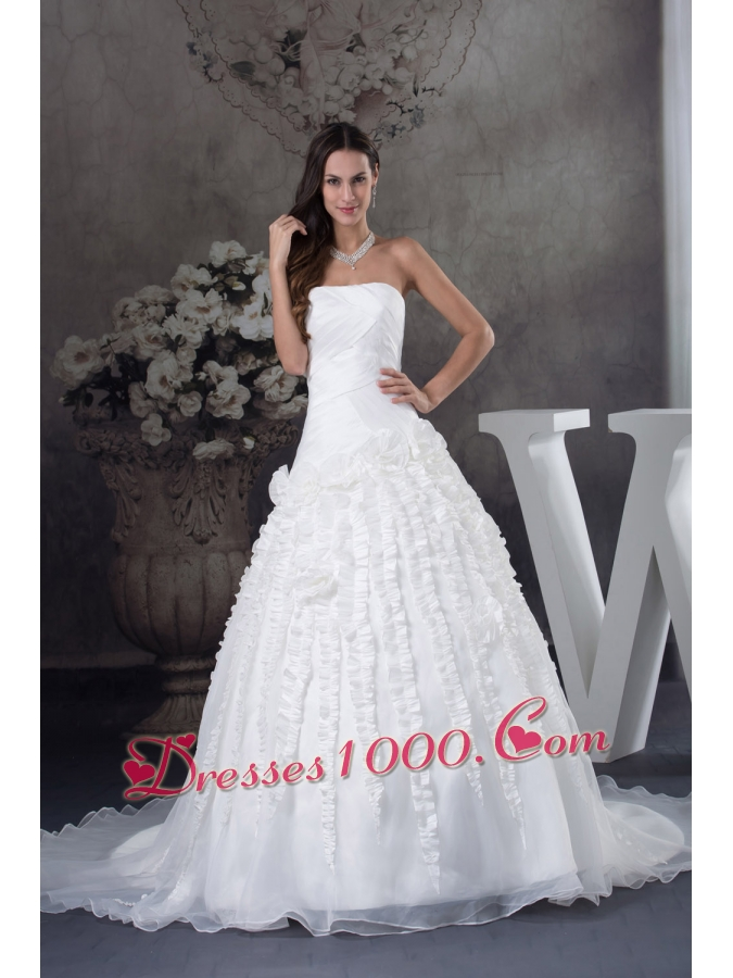 A line wedding dress with ruching strapless court train for A line wedding dress with ruching