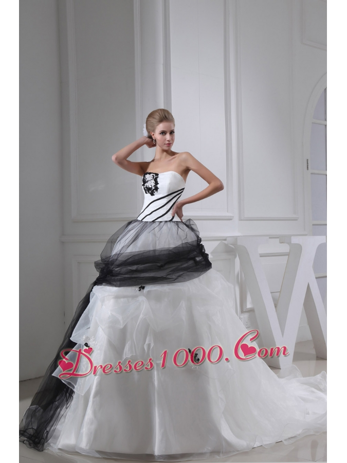Black Wedding Dress With Train : And black appliques ball gown strapless chapel train wedding dress