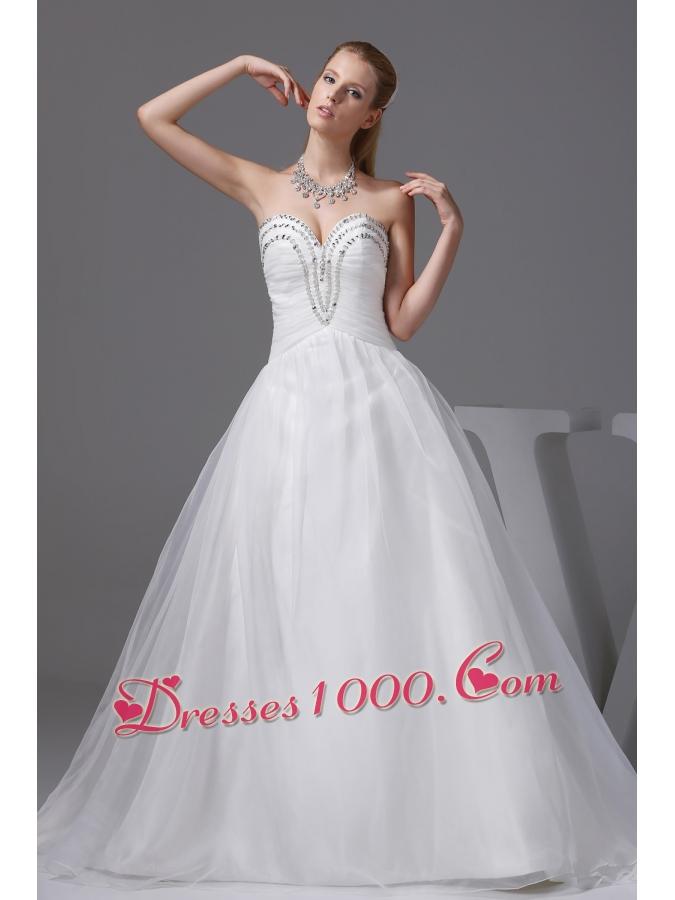 Ruching beading sweetheart a line wedding dress us for A line wedding dress with ruching