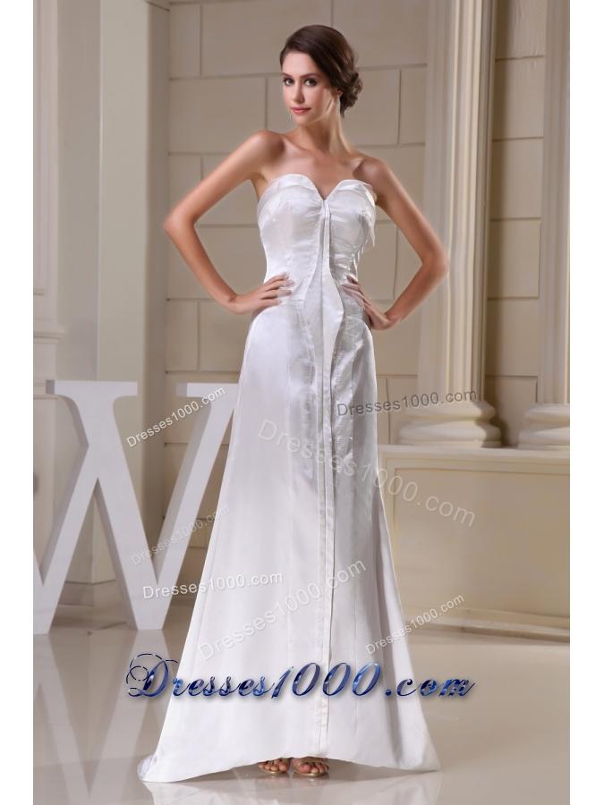 Sweetheart brush train bridal gown in white with for Wedding dresses asymmetrical hemline