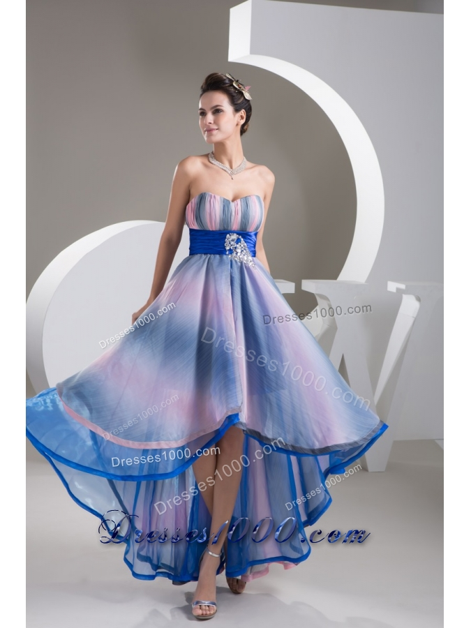 sweetheart high low colorful pringting prom gowns with