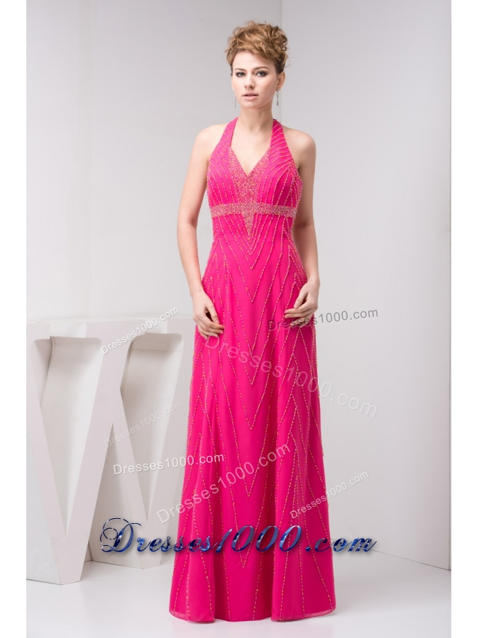 Pink Halter Top Prom Dresses - Trade Prom Dresses