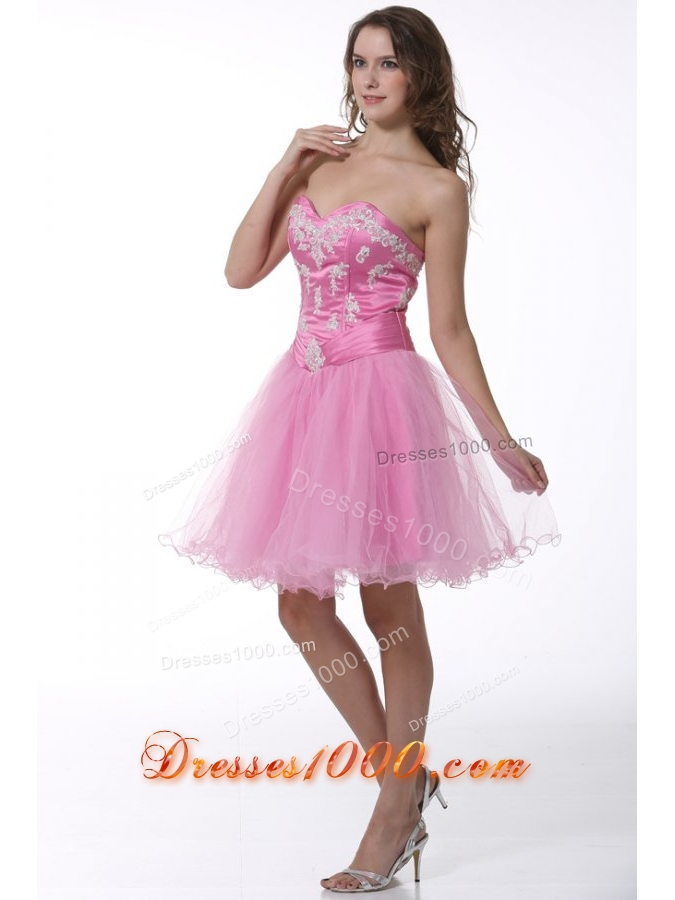 Princess Sweetheart Baby Pink Appliques Knee length Prom