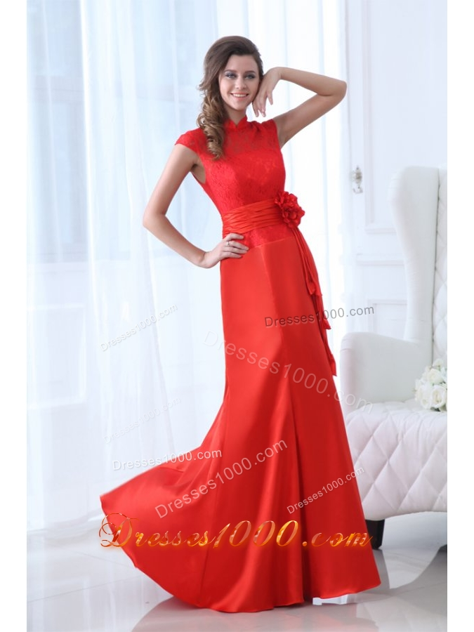 High Neck Lace Flowers Floor Length Red Dresses for JS Prom - US$130.21