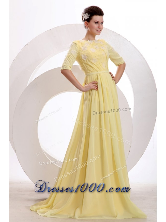 Bateau Neck Half Sleeves Yellow Brush Train JS Prom Dresses - US$134.68