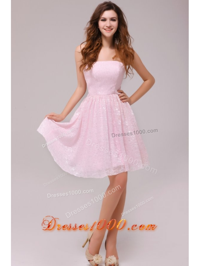 Lovely Strapless Prom Dress by Baby Pink Printed Fabric in Knee ...