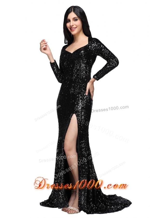 Black Sequins Square Long Sleeves High Slit Brush Train Prom Dress ...