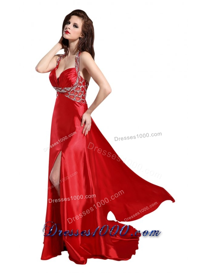 Provocative Halter Top Sweetheart Prom Dress with Slit and Beading ...