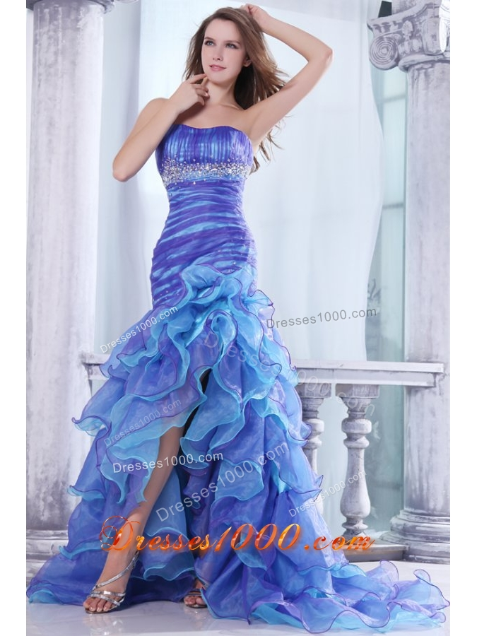 Strapless Beading and Ruffles Layered Mermaid Multi-color Prom Dress ...