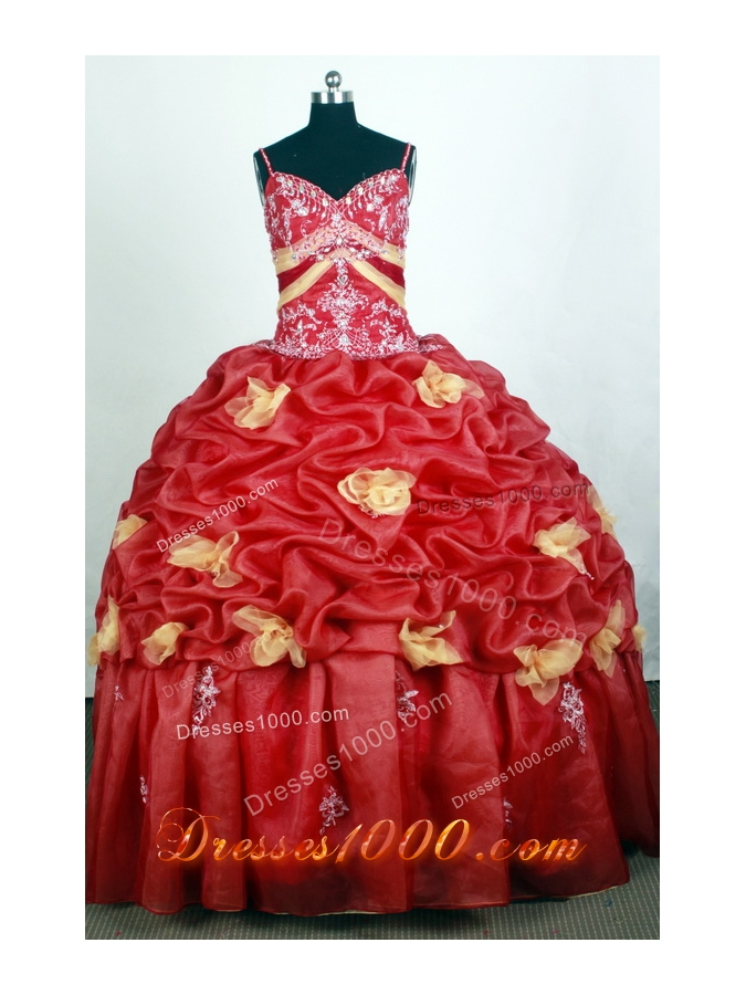 Beautiful Ball Gown Straps Floor-length Red Quinceanera Dress - US ...