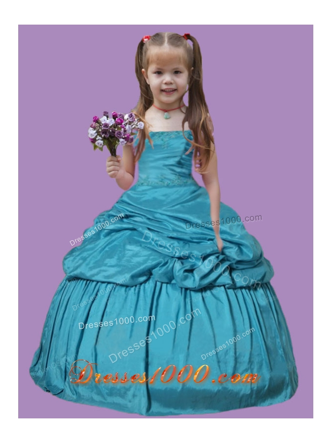 Teal Blue Pick Ups Appliques Taffeta Little Girl Pageant