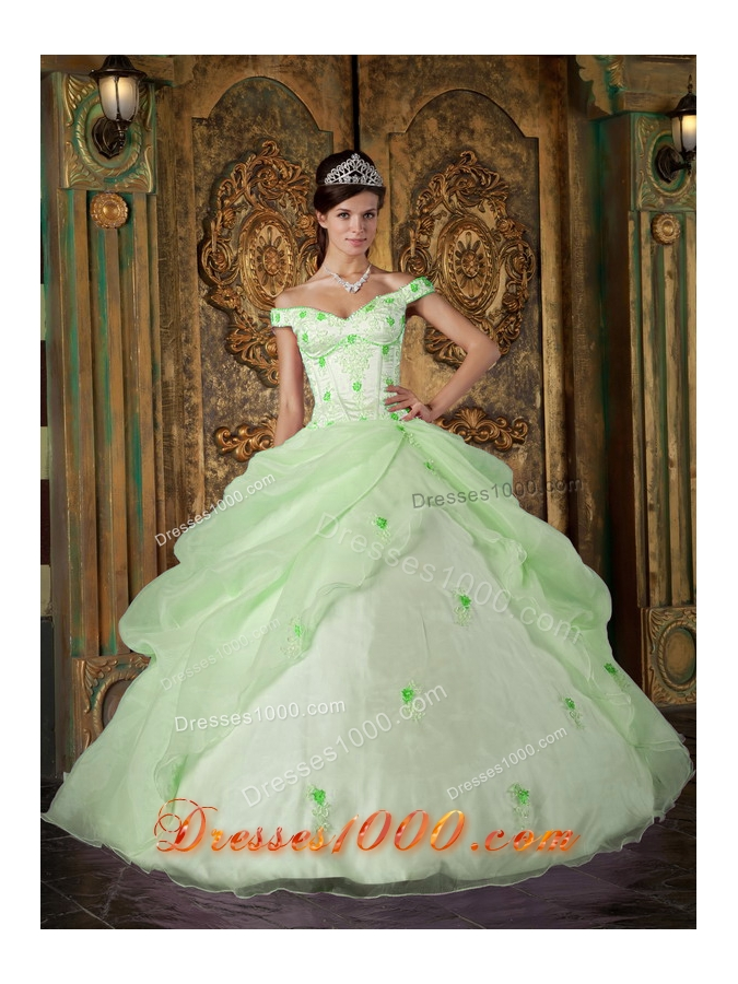 Elegant Off The Shoulder Quinceanera Dress in Light Green Ball Gown ...
