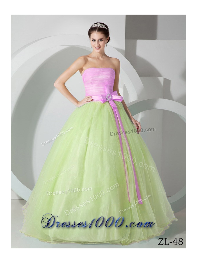 Discount Princess Strapless Organza Sweet 15 Dresses with Pink SashPrincess Dresses For Sweet 15