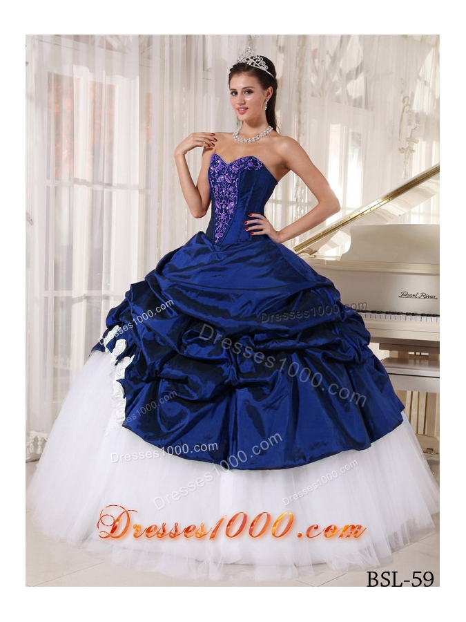 2014 Ball Gown Sweetheart Pick-ups and Appliques Blue and ...