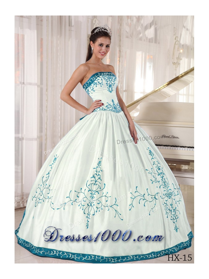 Blue And White Ball Gowns White and Blue Ball Go...