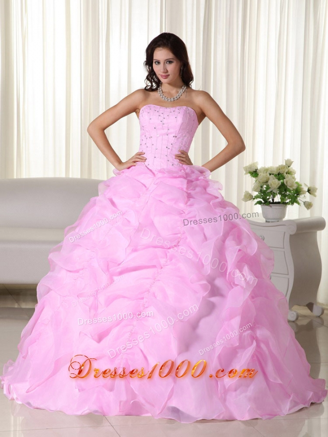 2014 Exquisite Pink Puffy Strapless Beading Dress For ...