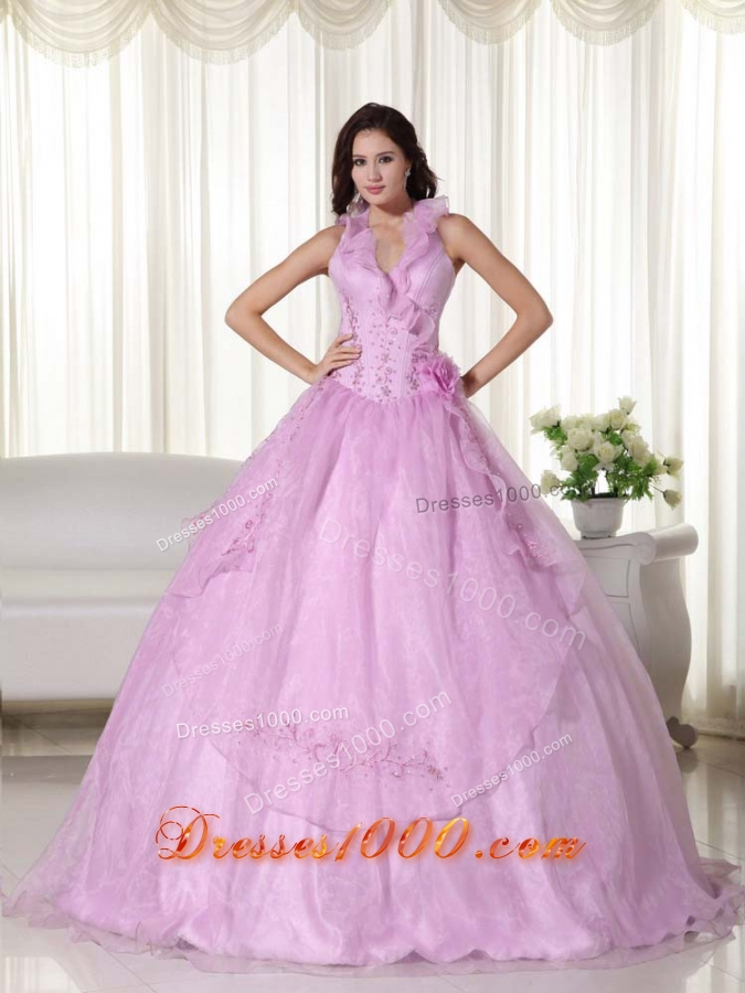 Pink Puffy Halter Beading 2014 Quinceanera Dress with ...