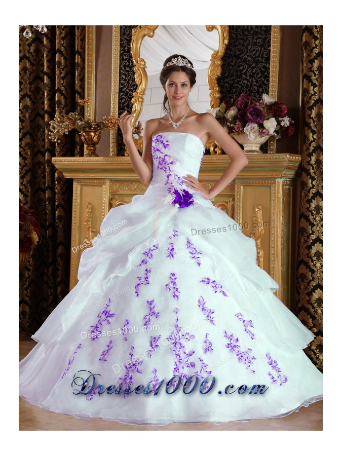 White Princess Strapless Organza Sweet 15 Dresses with Purple    Princess Dresses For Sweet 15