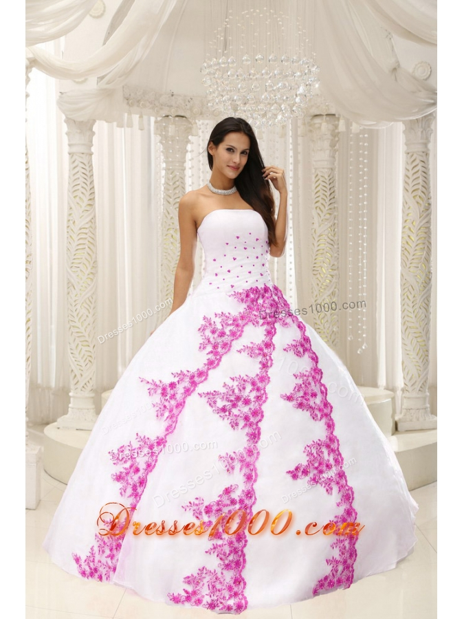 Beautiful Pink Embroidery White Quinceanera Dress For 2014 SpringQuinceanera Dresses 2014 Pink And White