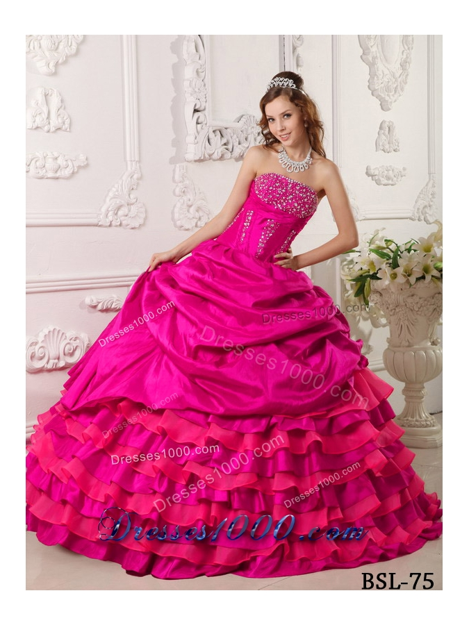 Looks - Pink hot puffy quinceanera dresses video