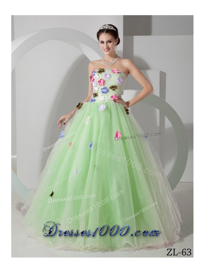Princess Strapless Organza Sweet 15 Dresses with Hand Made FlowersPrincess Dresses For Sweet 15