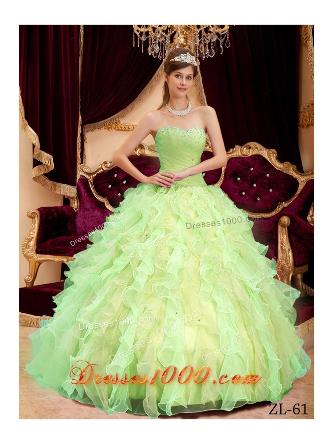 Princess Sweetheart Organza Sweet 15 Dresses with Beading and RufflesPrincess Dresses For Sweet 15