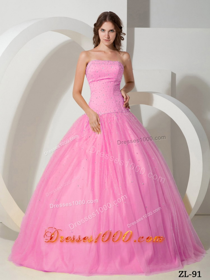 Princess Rose Pink Strapless Sweet 15 Dresses with BeadingPrincess Dresses For Sweet 15
