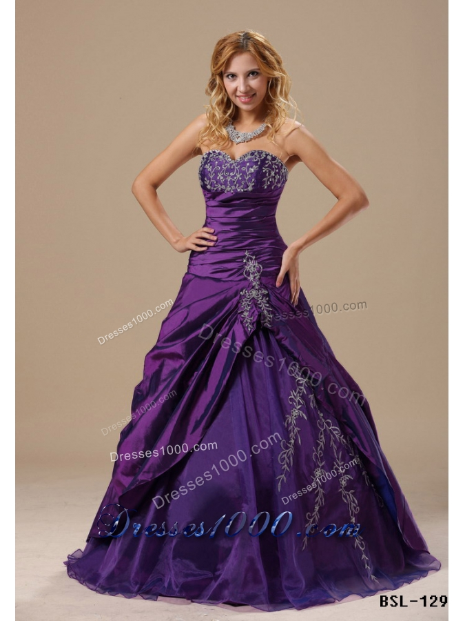 Purple Sweetheart Princess Sweet 15 Dresses with Embroidery and Pick    Princess Dresses For Sweet 15