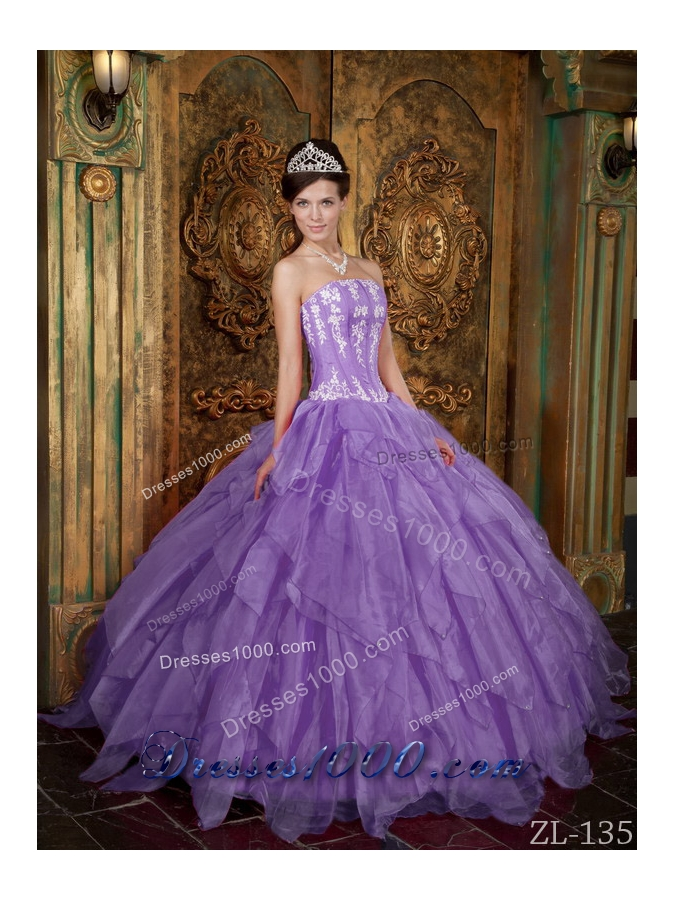 Gorgeous Princess Strapless Appliques Sweet 15 Dresses with Organza    Princess Dresses For Sweet 15