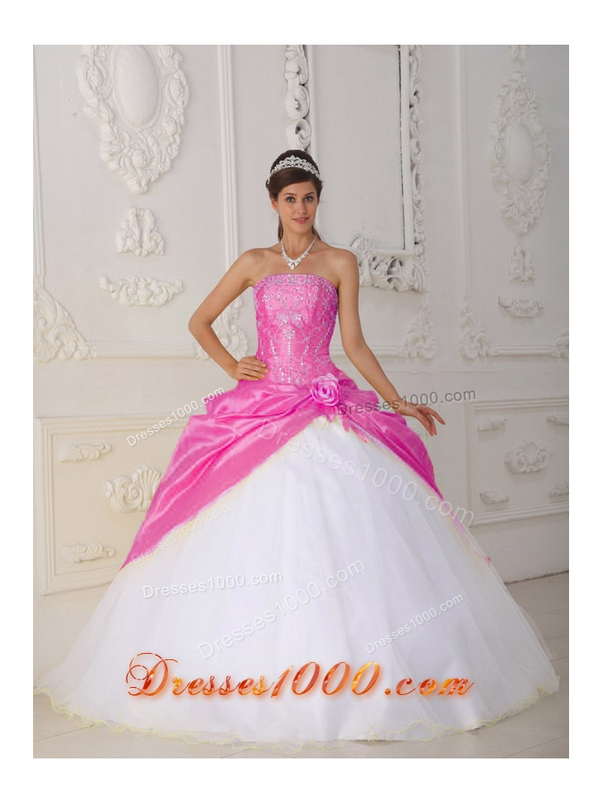 Hot Pink and White Ball Gown Strapless Quinceanera Dress ...