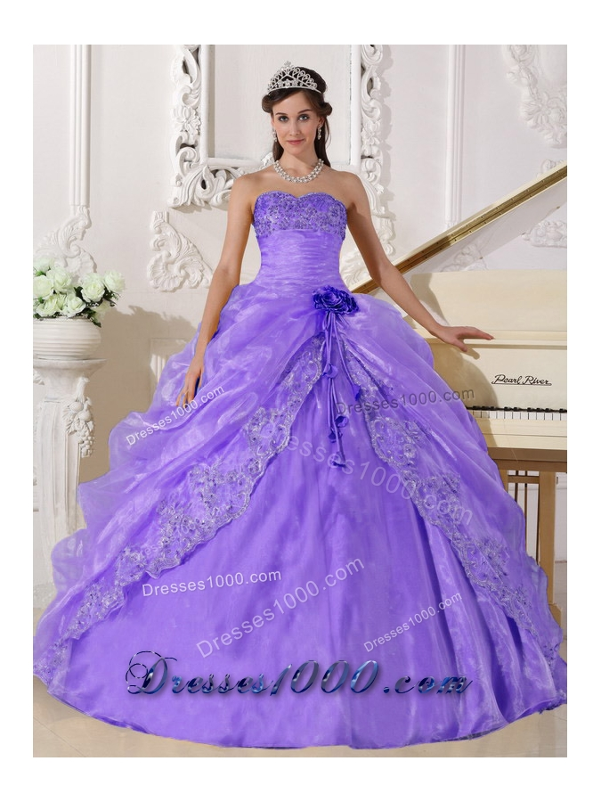 Lilac Ball Gown Strapless Embroidery with Beading Pick-ups ...