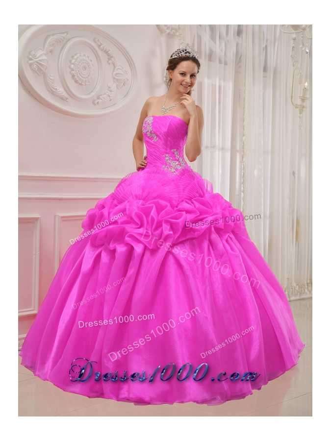 Puffy Hot Pink Strapless 2014 Quinceanera Dress with ...