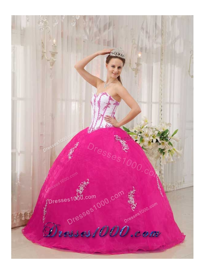 White and Hot Pink Ball Gown Sweetheart Quinceanera Dress ...