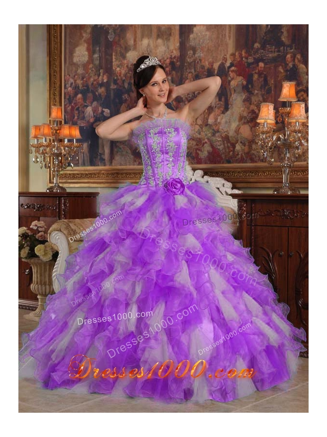 Princess Strapless Organza Sweet 15 Dresses with Ruffles and AppliquesPrincess Dresses For Sweet 15
